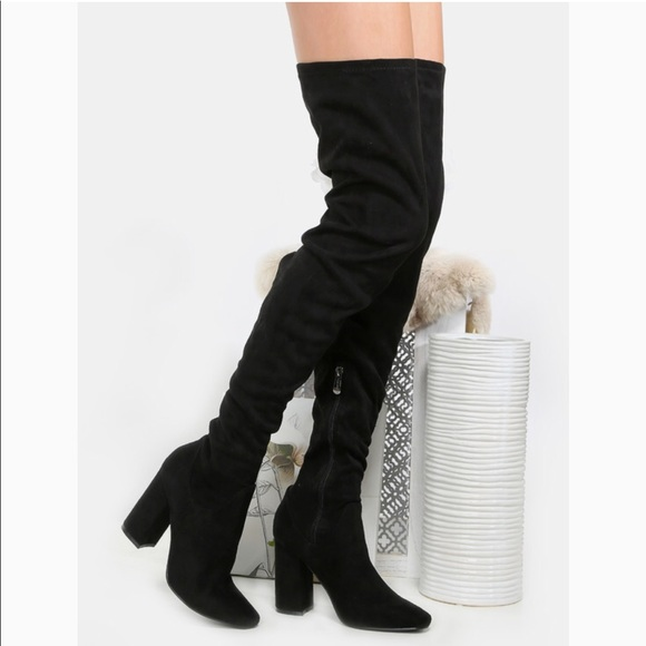 Euc Black Thigh High Faux Suede Boots